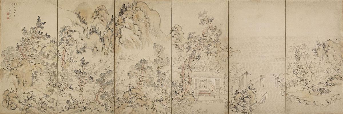 池大雅 高士訪隠図屏風 寛延3年(1750)(後期)