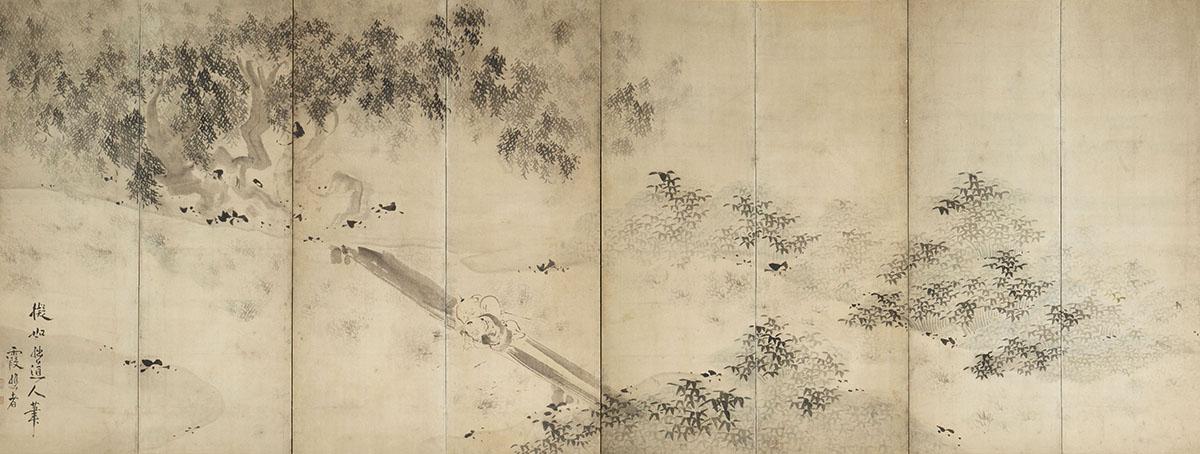 重要文化財 池大雅 柳下童子図屏風 江戸時代 (前期)